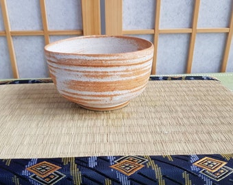 White and orange brown chawan, teabowl for the Japanese tea ceremony
