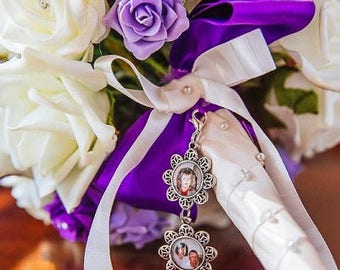 TWO LINKED Small Floral Silver Personalised Photo Bouquet Memory Charm