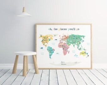 World map poster etsy printed modern world map poster 50 x 70 cm map for kids nursery gumiabroncs Images