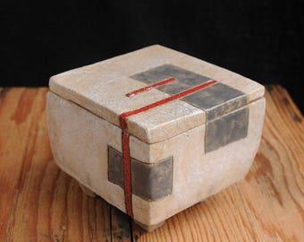 Raku ceramic lidded box, handmade, one of a kind, OOAK