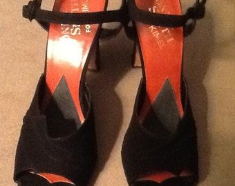 Vintage Bonnie Smith for Kimel Black Suede Peep Toe  Heels