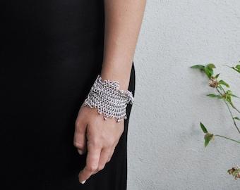 Silver Bracelet, Silver Cuff Bracelet, Statement Jewelry, Israeli Jewelry, Silver Mesh Bracelet, Wide Bracelet, Anniversary Gift for Woman