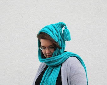 Turquoise Hooded Scarf, Hand Knitted Scarf with Hood, Cabled Scoodie, Bright Blue Scarf Hoodie, Winter Fashion Women, Hood Scarf Teenagers
