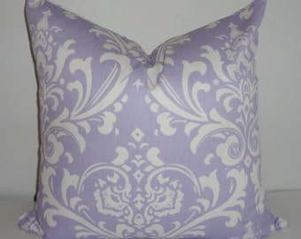INVENTORY REDUCTION Wisteria Lavender Damask Pillow Cover Decorative Throw Pillow SIZE 18X18