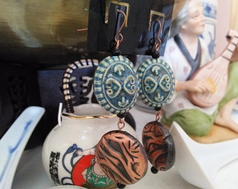 Blue Pottery Beaded Earrings with Copper Disks