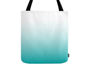 Gradient tote bag turquoise gradient bag turquoise ombre tote bag teal ombre bag teal bag teal tote bag turquoise summer tote bag
