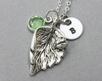 Ladybug on Leaf Necklace - Personalized Initial Name, Customized Swarovski crystal birthstone