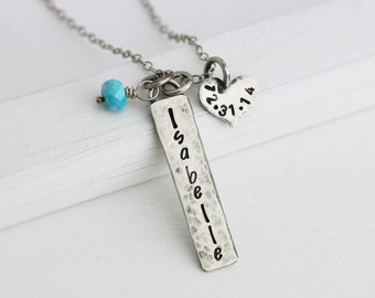 Rustic Personalized Necklace - New Mom Necklace - Sterling Silver Mother's Necklace - Push Present - New Baby Necklace - Mommy Jewelry