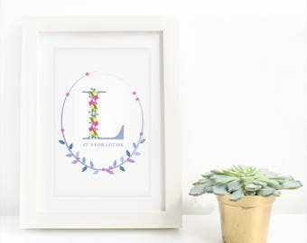 Initial Artwork for Gift with flowers for Woman, Daughter, Mother, Sister, In Law, at Christmas, Wedding Gift, for bride and groom