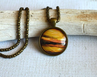Orange and Copper Pendant- Copper Necklace- Orange Glass Pendant- Made with Upcycled Paper- Round Glass Pendant- Planet, Sun Pendant- OOAK