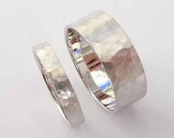 Wedding rings set white gold wedding band set men and women flat hammered sandblast mat finish