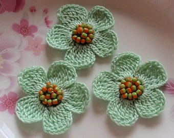 3 Crochet  Flowers With Beads 2 inches YH -218-01