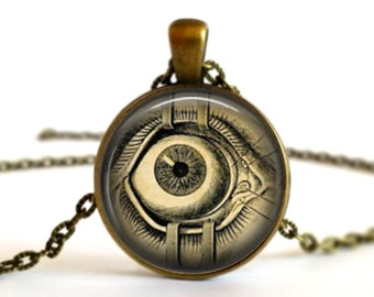 Science Open Eye Scary Surgery Necklace Pendant