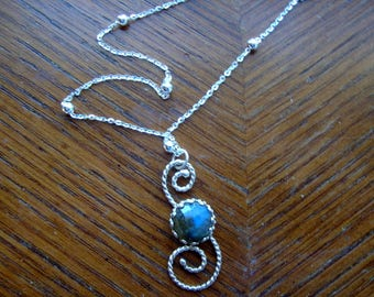 """Rainbow labradorite Pendant in lacy sterling silver ethical  -USA- chain about 17"""" with 3mm silver beads, pendant about 1.25"""" stone 10mm"""