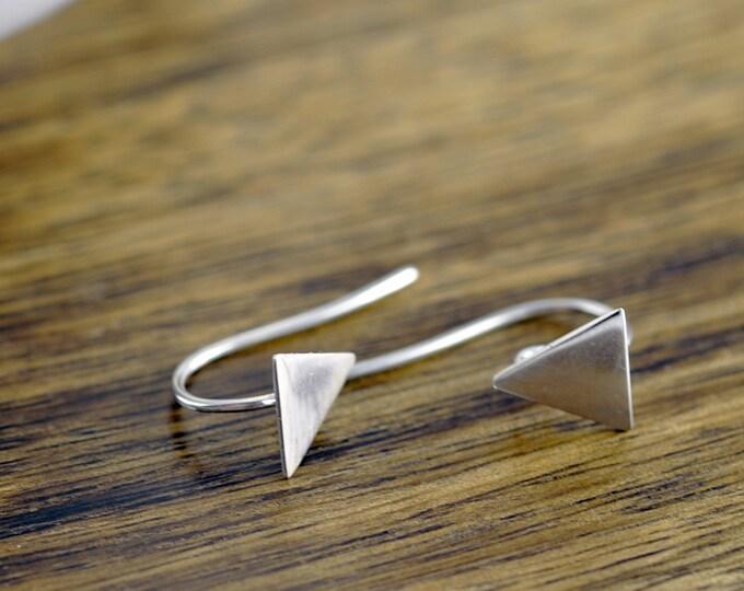 Silver Triangle Earrings, Earrings Dangle, Geometric Earrings, Silver Dangle Earrings, Triangle Dangle Earrings, Geometric Jewelry