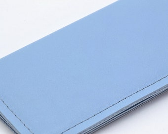 Sky Blue Leather Basic Checkbook Cover, Handmade Blue Check Book Cover, Unisex Gift by WhiteCross Designs in USA