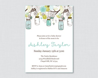 Mason Jar Baby Shower Invitation Printable or Printed Invite - Blue, Brown, and Aqua Baby Shower Invites in Mason Jars and Flowers - 0064-A