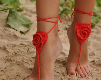 Crochet Barefoot Sandals, Red rose, Beach Pool Wear, SEXY accessories, fashion accessory, gift for her, Valentine, Red Barefoot Sandal