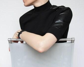 Turtleneck Black Top, Mock Turtleneck, Black Minimalist Top, Short Sleeve Sweater, Minimalist Clothing, Modern Turtleneck