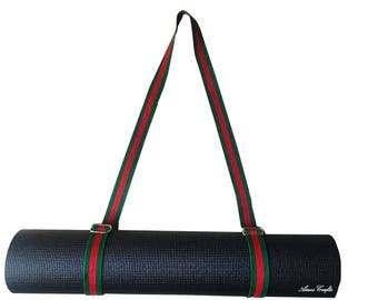 Handmade Red and Green Cotton Strap Yoga and Pilates Mat Carrier Sling Strap Towel Holder