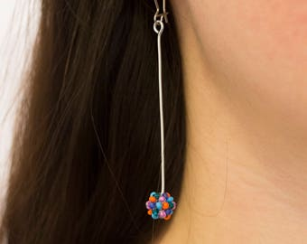 Colorful Beaded Ball Dangle Earrings