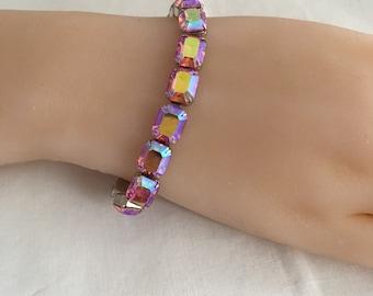 Exquisite Weiss Faceted AB Pink Rhinestones Silvertone Bracelet Hallmark Weiss