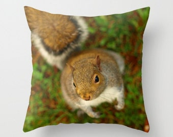 Squirrel In The Forest  Pillow Cover Affordable Home Photography Prints Nature Photography Decor Nature Lover Woodland Scene