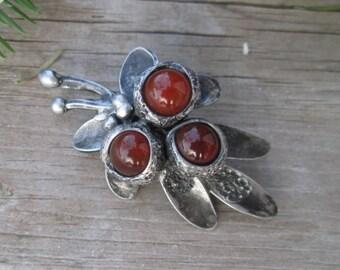 Handmade brooch with  carnelian