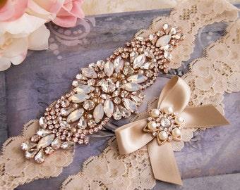 Champagne Wedding Garter set, Champagne Bridal Garter, Rhinestone Garter, Rose Gold Wedding Garter, Rose Gold Bridal Garter Set
