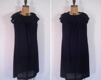 1960s sheer swiss dot dress • 60s minimalist mod black party dress with pockets • vintage Mary Martin for Rainbow Of California dress