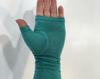 Aquamarine hand-dyed fingerless gloves, gauntlets, arm warmers.