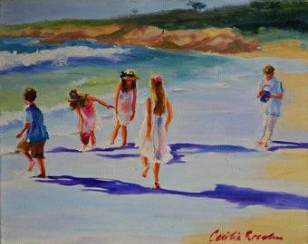 Art Print of KINDERS OP KAMPSBAAI, white and purple, beach painting, sea scene