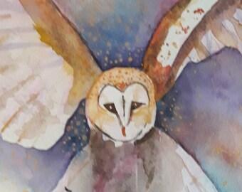 Watercolour Owl Print 'Hunter in Flight'