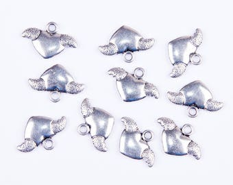 10 heart charms with small silver wings