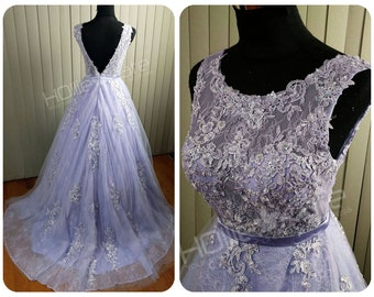 Lavender Wedding Dress, Sheer Wedding Dress, Low Back Wedding Dress - Beaded Lace, Sheer Bodice
