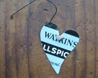 Vintage Reclaimed Heart Tin Ornament, Upcycled, Gifts under 15, gifts for her, Christmas ornament, ready to ship
