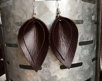 Leather Earrings-Double Leaf Leather Earrings-Joanna Gaines Magnolia Inspired-gift