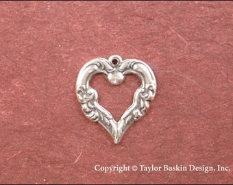 Antique Sterling Silver Plated Victorian Ornate Heart (item 320-AS) - 6 Pieces