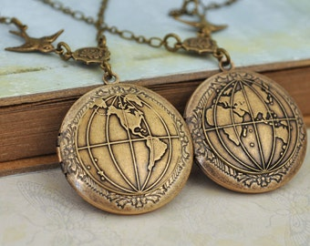 locket necklace set of 2 - YOU COMPLETE My WORLD - antiqued brass globe world map locket necklaces