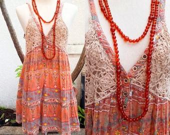 Vintage Crochet Indian Dress/Indian Print dress/Boho Indian dress/bohemian dress.