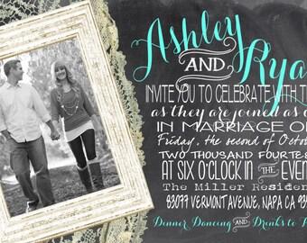Chalkboard Wedding Invitation, Photo Wedding Invitations, Chalkboard and Lace Wedding Invitations, Subway Wedding Invitations