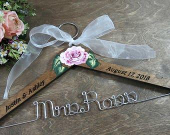 Elegant Bridal Hanger - Wedding Dress Hanger With Name - Engraved Hangers - Hand Painted Flower - Wood Hanger -Silver Aluminum Wire