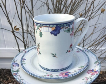 China tea cup feeder - garden accessories - garden decor - upcycled teacup feeder - butterfly feeder - ONEIDA blue lattice bird feeder
