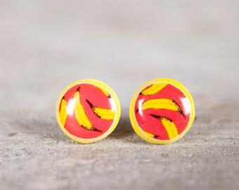 Stud Earings, Banana Earring, Stud Earrings, Post Earings, Fruit Earrings, Crazy Earrings, Yellow Earrings, Tiny Post Earrings, Mens Earring