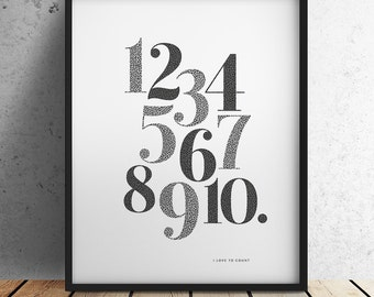 Numbers Print - I love to Count - Large (Unframed)