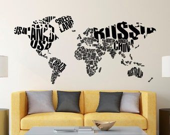 World map decor travel wall decal world map decal adventure wall decal world map letters world map wall decal large wall map with countries decals living room office travel wall art home decor c128 gumiabroncs Gallery