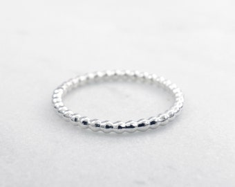 Sterling silver full bead stacking ring - Minimalist silver ring - Stackable sterling silver ring - Delicate silver ring - Handmade ring