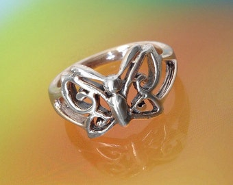 925 Solid Sterling Silver BUTTERFLY Ring-Oxidized Butterfly Ring-Flower Silver Ring