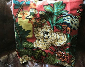 """Schumacher Chiang Mai Dragon linen fabric red remnant rare opportunity...20"""" wide x 28""""long ideal cushion"""