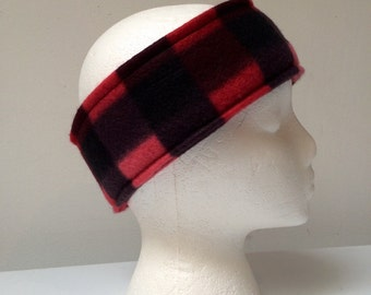Red and black checkered fleece ear warmer, fleece headband, winter wear, ski headband